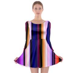 Fun Striped Background Design Pattern Long Sleeve Skater Dress
