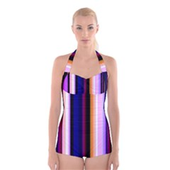 Fun Striped Background Design Pattern Boyleg Halter Swimsuit