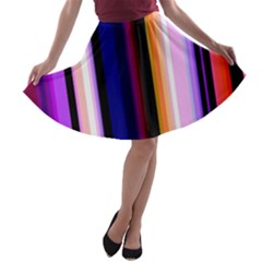 Fun Striped Background Design Pattern A Line Skater Skirt