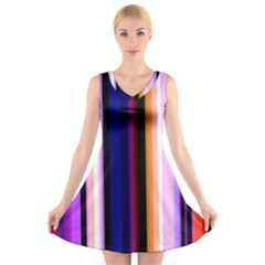 Fun Striped Background Design Pattern V-Neck Sleeveless Skater Dress