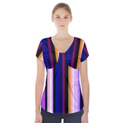 Fun Striped Background Design Pattern Short Sleeve Front Detail Top