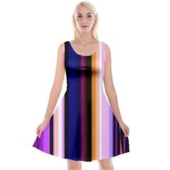 Fun Striped Background Design Pattern Reversible Velvet Sleeveless Dress