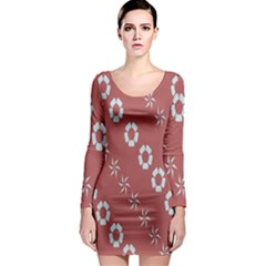Abstract Pattern Background Wallpaper In Pastel Shapes Long Sleeve Bodycon Dress