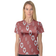 Abstract Pattern Background Wallpaper In Pastel Shapes Women s V Neck Sport Mesh Tee