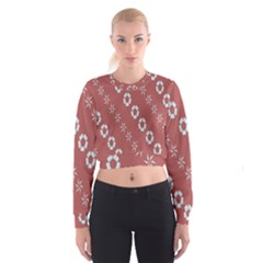 Abstract Pattern Background Wallpaper In Pastel Shapes Women s Cropped Sweatshirt