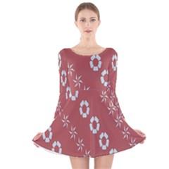 Abstract Pattern Background Wallpaper In Pastel Shapes Long Sleeve Velvet Skater Dress