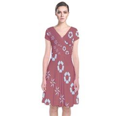 Abstract Pattern Background Wallpaper In Pastel Shapes Short Sleeve Front Wrap Dress
