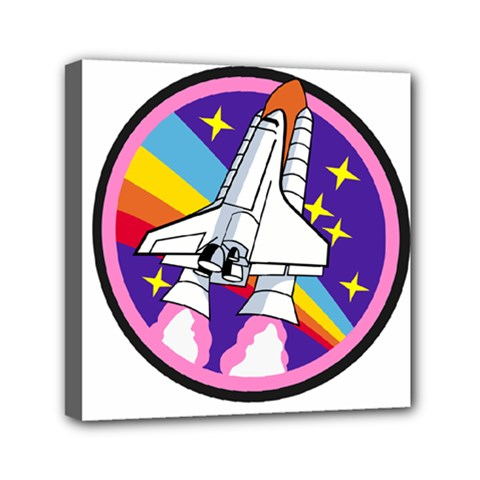 Badge Patch Pink Rainbow Rocket Mini Canvas 6  X 6