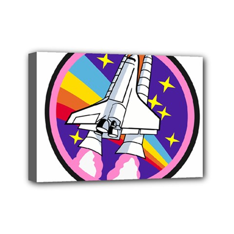 Badge Patch Pink Rainbow Rocket Mini Canvas 7  X 5