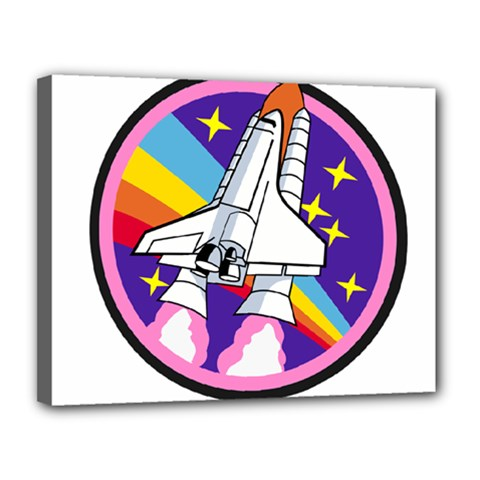 Badge Patch Pink Rainbow Rocket Canvas 14  X 11