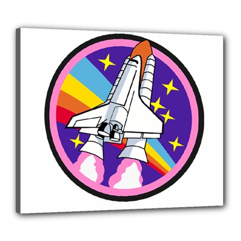 Badge Patch Pink Rainbow Rocket Canvas 24  x 20