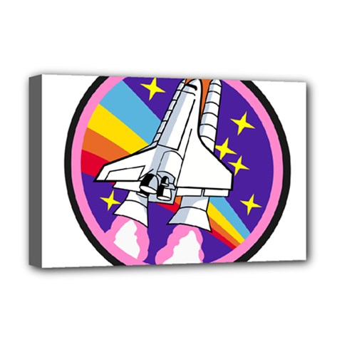 Badge Patch Pink Rainbow Rocket Deluxe Canvas 18  X 12