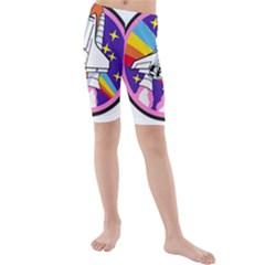 Badge Patch Pink Rainbow Rocket Kids  Mid Length Swim Shorts