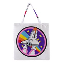 Badge Patch Pink Rainbow Rocket Grocery Tote Bag