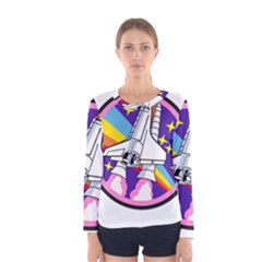 Badge Patch Pink Rainbow Rocket Women s Long Sleeve Tee