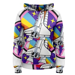Badge Patch Pink Rainbow Rocket Women s Pullover Hoodie