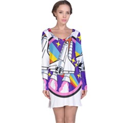 Badge Patch Pink Rainbow Rocket Long Sleeve Nightdress