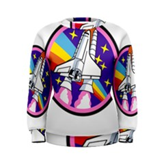 Badge Patch Pink Rainbow Rocket Women s Sweatshirt