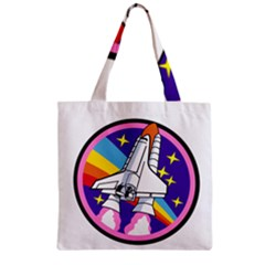 Badge Patch Pink Rainbow Rocket Zipper Grocery Tote Bag