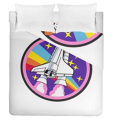 Badge Patch Pink Rainbow Rocket Duvet Cover Double Side (queen Size)