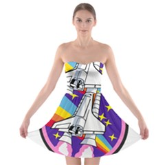 Badge Patch Pink Rainbow Rocket Strapless Bra Top Dress
