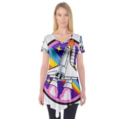 Badge Patch Pink Rainbow Rocket Short Sleeve Tunic