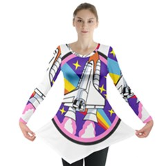 Badge Patch Pink Rainbow Rocket Long Sleeve Tunic