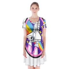 Badge Patch Pink Rainbow Rocket Short Sleeve V Neck Flare Dress