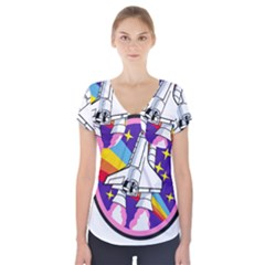 Badge Patch Pink Rainbow Rocket Short Sleeve Front Detail Top