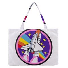 Badge Patch Pink Rainbow Rocket Medium Zipper Tote Bag