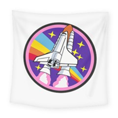 Badge Patch Pink Rainbow Rocket Square Tapestry (large)