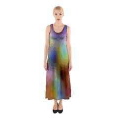 A Mix Of Colors In An Abstract Blend For A Background Sleeveless Maxi Dress