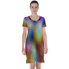 A Mix Of Colors In An Abstract Blend For A Background Short Sleeve Nightdress