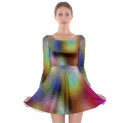 A Mix Of Colors In An Abstract Blend For A Background Long Sleeve Skater Dress