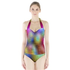 A Mix Of Colors In An Abstract Blend For A Background Halter Swimsuit