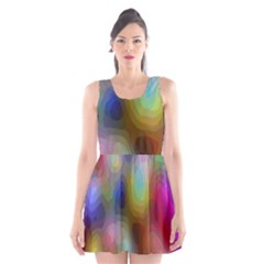 A Mix Of Colors In An Abstract Blend For A Background Scoop Neck Skater Dress
