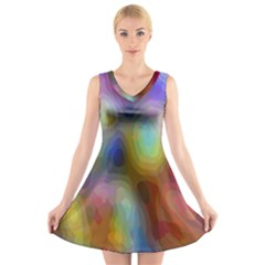 A Mix Of Colors In An Abstract Blend For A Background V Neck Sleeveless Skater Dress
