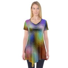 A Mix Of Colors In An Abstract Blend For A Background Short Sleeve Tunic