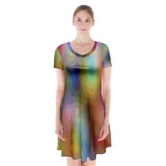 A Mix Of Colors In An Abstract Blend For A Background Short Sleeve V Neck Flare Dress