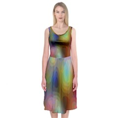 A Mix Of Colors In An Abstract Blend For A Background Midi Sleeveless Dress