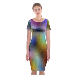 A Mix Of Colors In An Abstract Blend For A Background Classic Short Sleeve Midi Dress