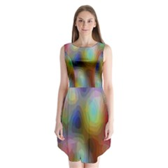 A Mix Of Colors In An Abstract Blend For A Background Sleeveless Chiffon Dress