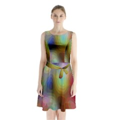 A Mix Of Colors In An Abstract Blend For A Background Sleeveless Chiffon Waist Tie Dress