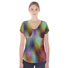 A Mix Of Colors In An Abstract Blend For A Background Short Sleeve Front Detail Top
