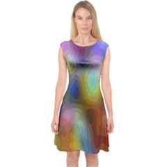 A Mix Of Colors In An Abstract Blend For A Background Capsleeve Midi Dress