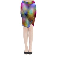 A Mix Of Colors In An Abstract Blend For A Background Midi Wrap Pencil Skirt
