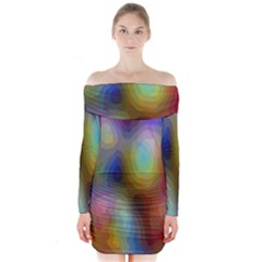 A Mix Of Colors In An Abstract Blend For A Background Long Sleeve Off Shoulder Dress