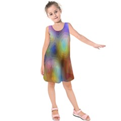 A Mix Of Colors In An Abstract Blend For A Background Kids  Sleeveless Dress