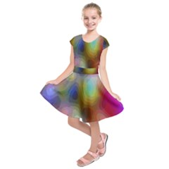 A Mix Of Colors In An Abstract Blend For A Background Kids  Short Sleeve Dress