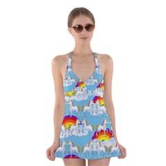 Rainbow pony  Halter Swimsuit Dress